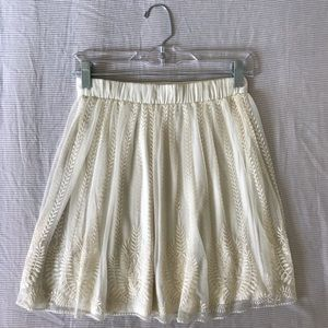 Urban Outfitters cream/ivory embroidered skirt